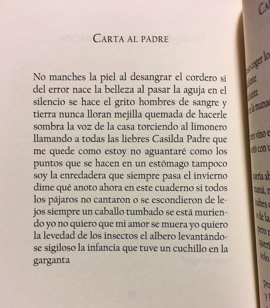 María Sánchez Carta al padre